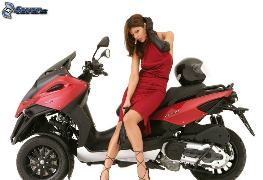 brunette, red dress, motocycle