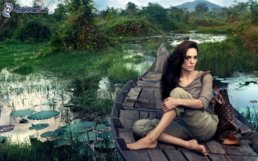 brunette, Vuitton, lake, water lilies