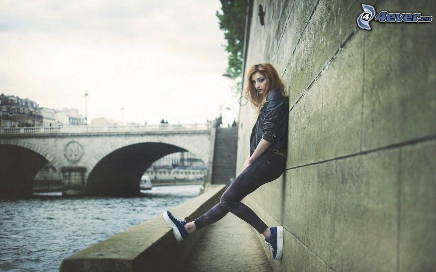 brunette, wall, bridge