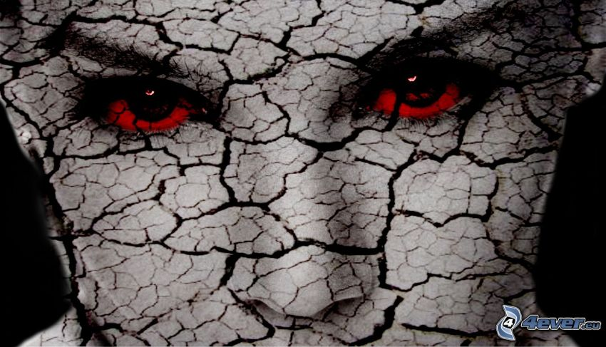cracked face, red eyes