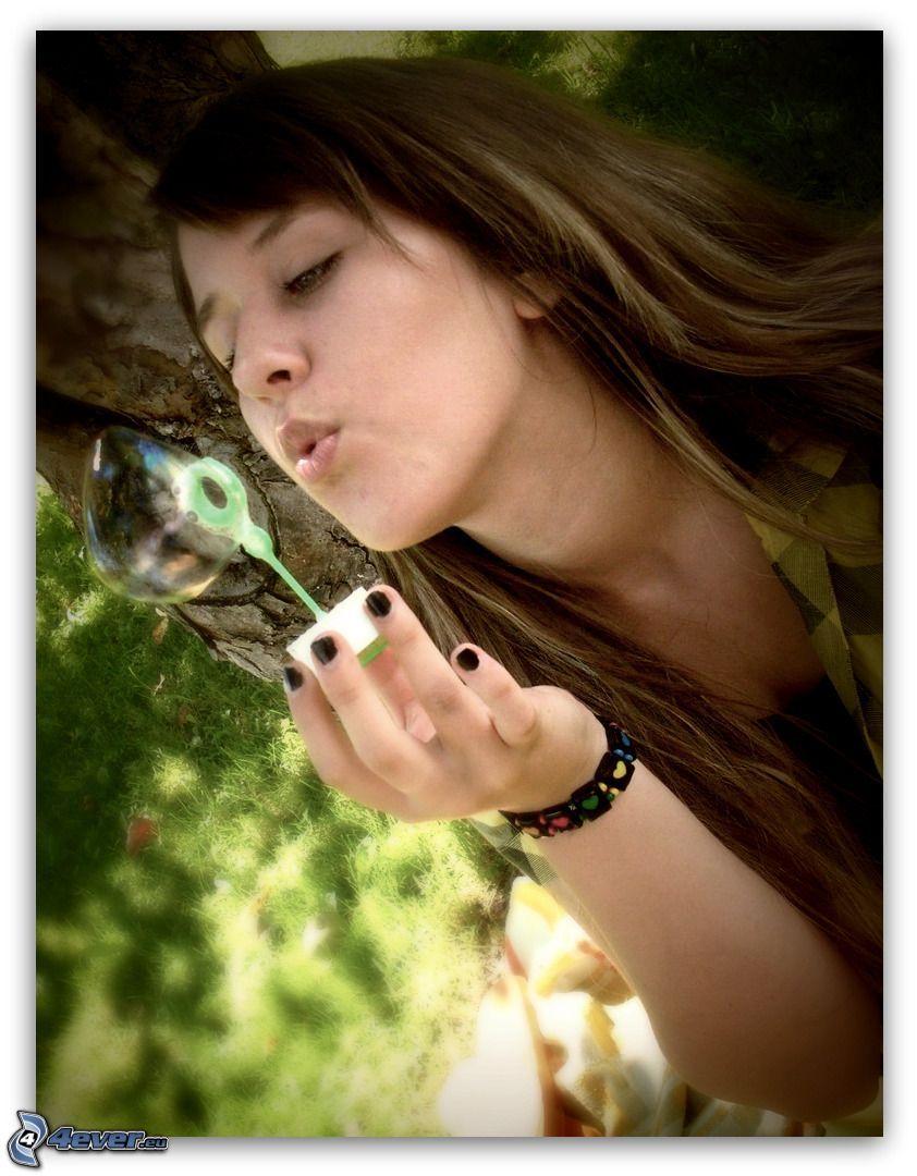 girl, bubble, Bubble Blower, tree