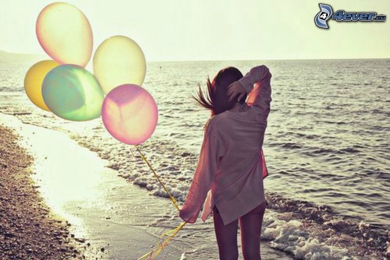 girl at sea, balloons, loneliness