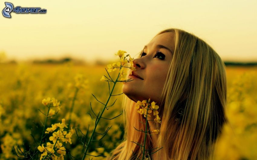 girl on field, rapeseed