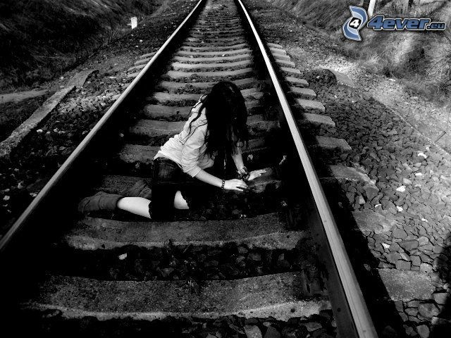 girl on the railroad, sadness, railway