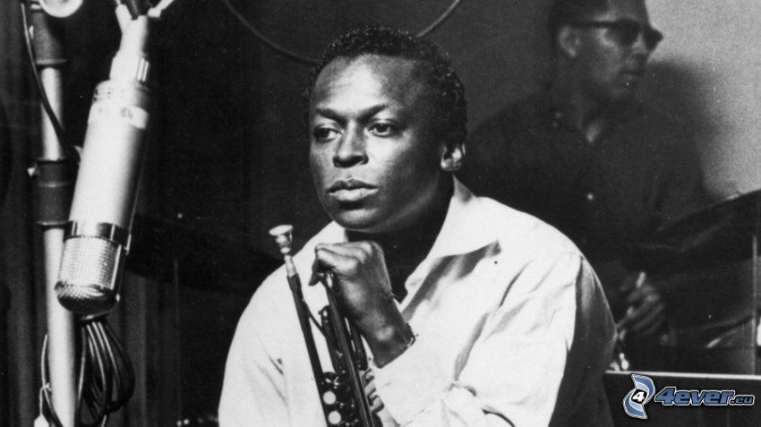 Miles Davis, black and white photo