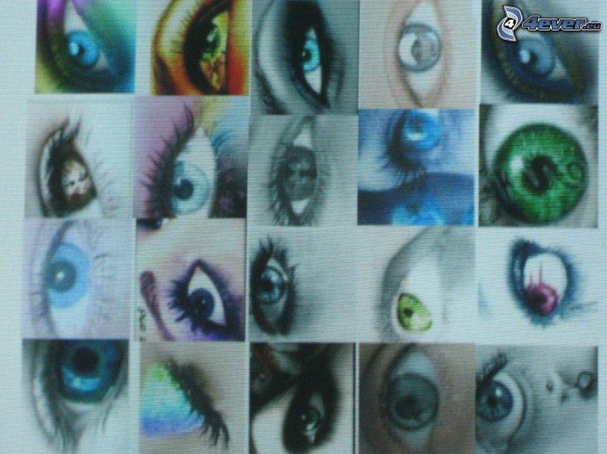 mosaic, eyes