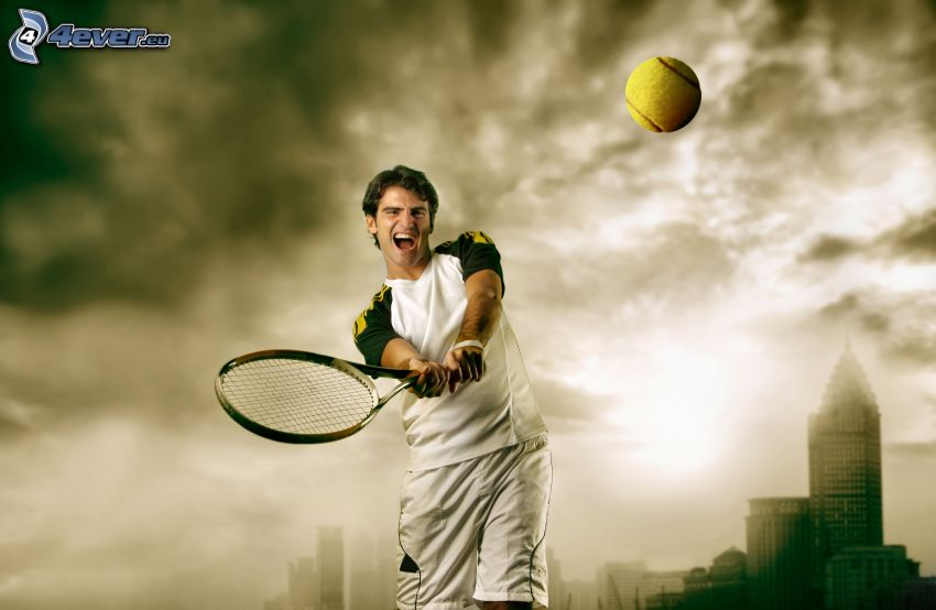 tennis player, tennis racket, tennis ball, strike
