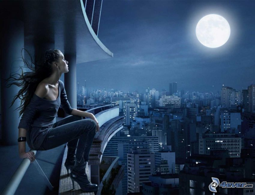 woman, moon, view of the city