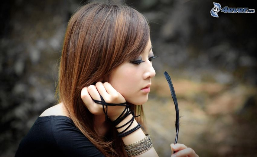asian girl, feather