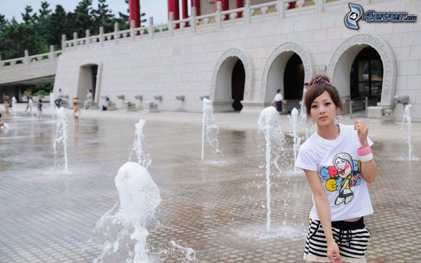 asian girl, fountain
