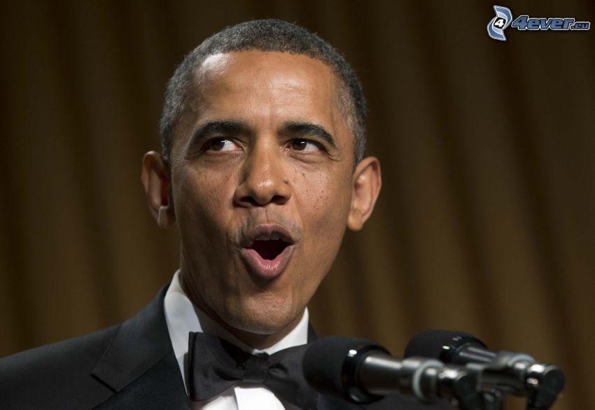 Barack Obama, microphone