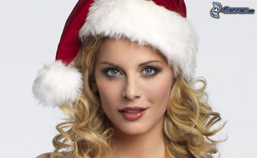 blonde, Santa Claus hat