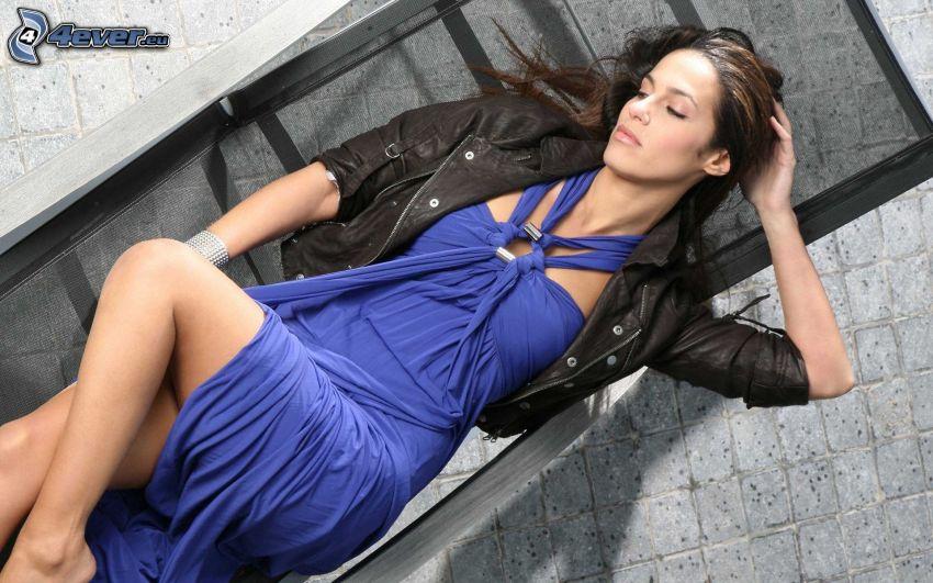 brunette, blue dress