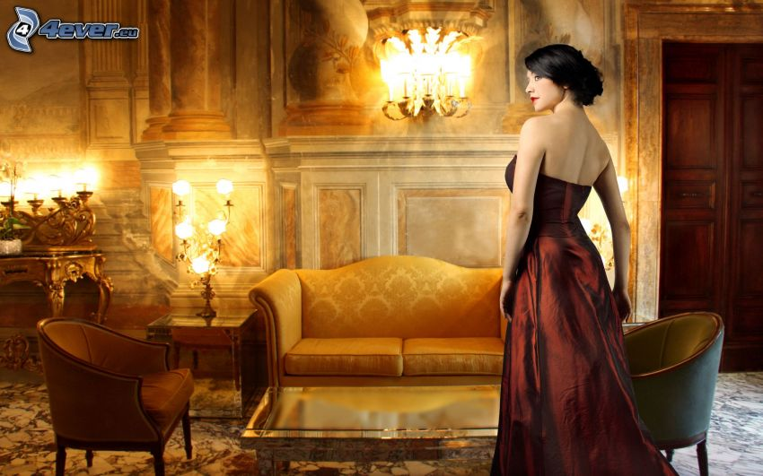 brunette, brown dress, living room