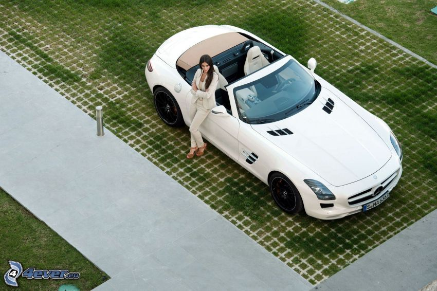 brunette, Mercedes-Benz SLS AMG, convertible