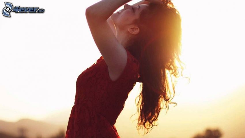brunette, sunset