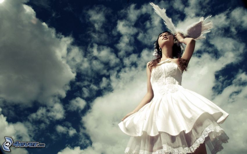 brunette, white dress, sky, clouds