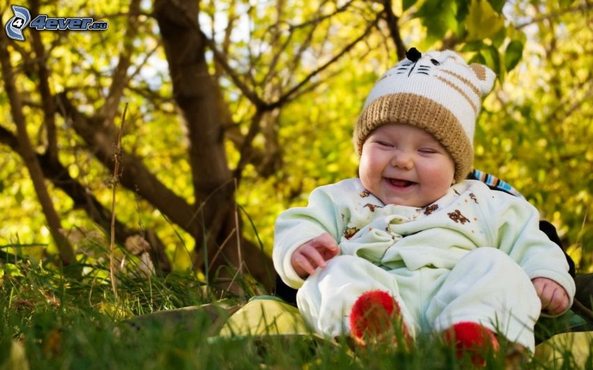 baby, laughter, grass