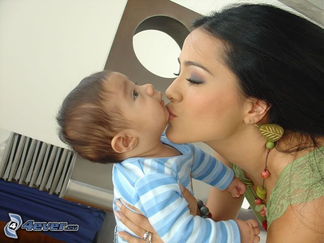 baby with mother, kiss