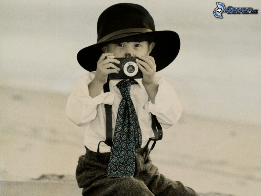 boy, camera, hat, tie, black and white photo