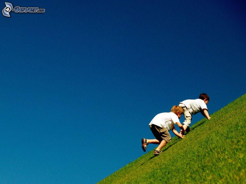 boys, hill, green grass, blue sky