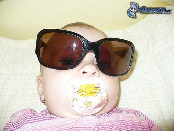 child with glasses, pacifier, sunglasses