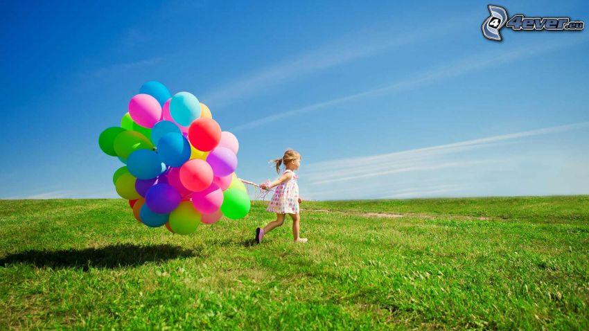 girl, balloons, meadow