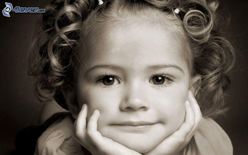 girl, black and white photo