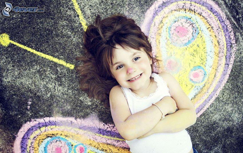 girl, butterfly, sidewalk, chalk