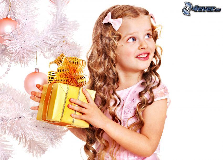 girl, gift, christmas tree
