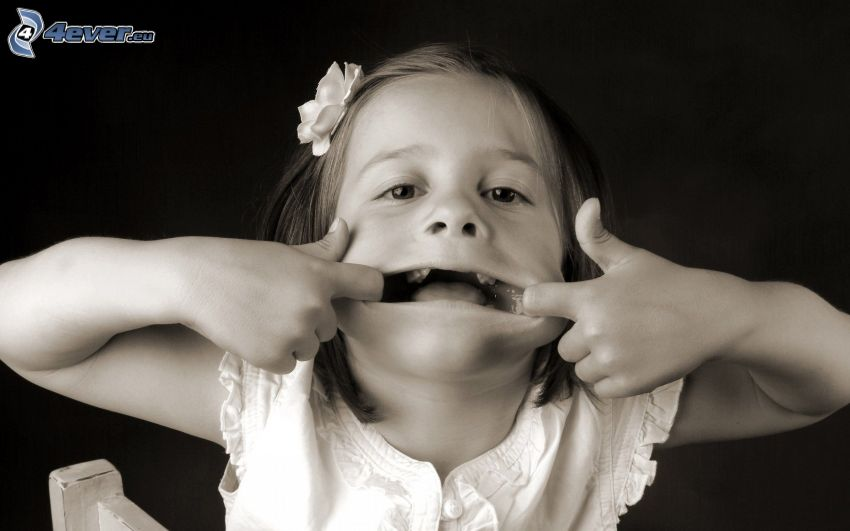 girl, grimacing, black and white photo
