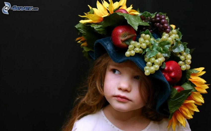 girl, hat, fruit
