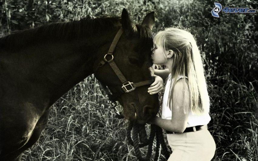 girl, horse, kiss, black and white photo