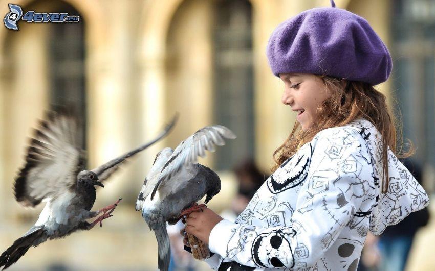 girl, pigeons, food