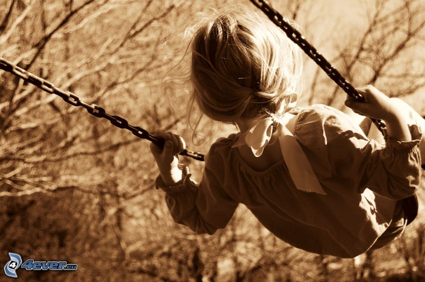 girl, swing, sepia