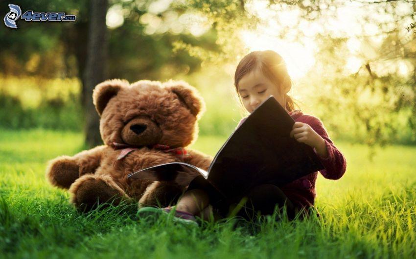 girl, teddy bear, book, grass