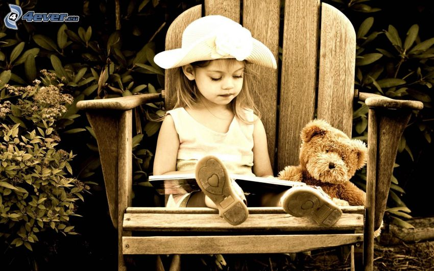 girl, teddy bear, book, hat, chair