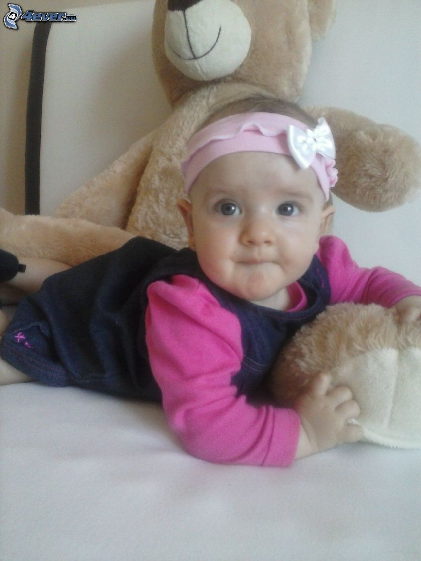 girl, teddy bear, headband