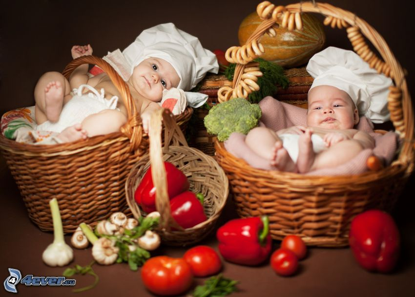 kids, baskets, vegetables, red peppers