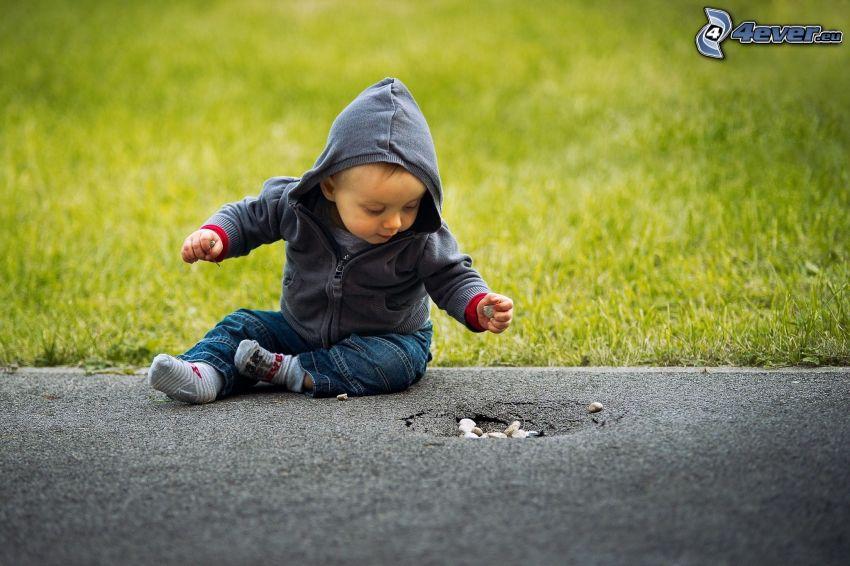 little boy, sidewalk, gravel