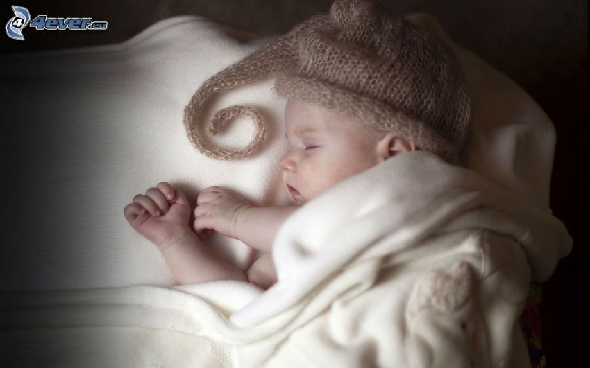 sleeping baby, hat