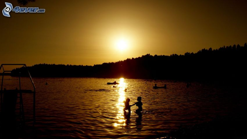 sunset at sea, children