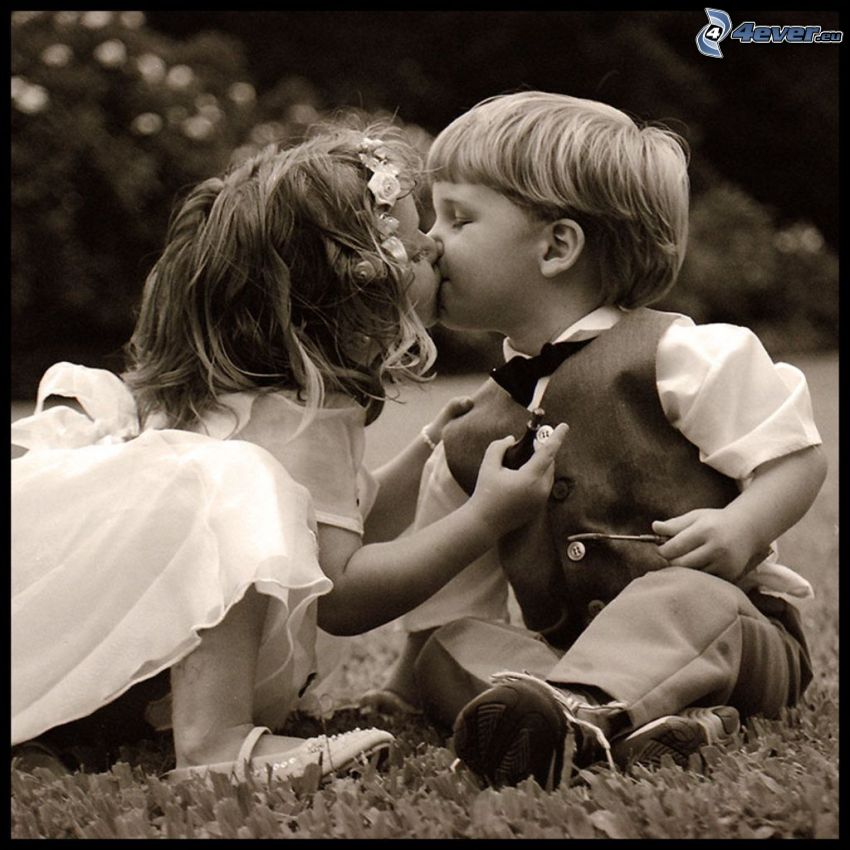 Young wedding, children kiss, children, love