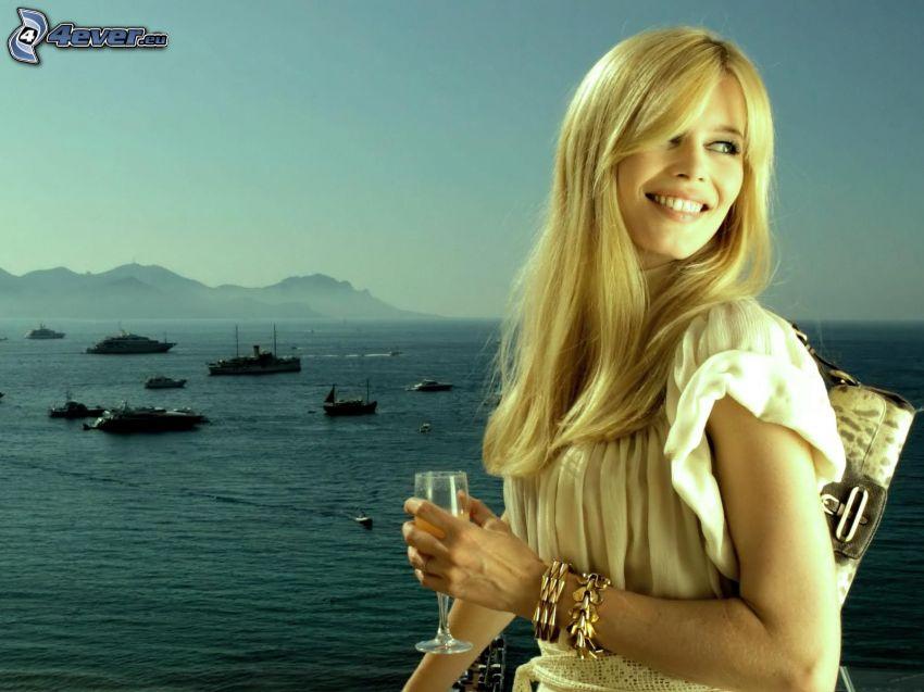 Claudia Schiffer, sea, ships