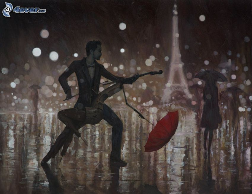 dance in the rain, cello, man with umbrella, woman silhouette, Eiffel Tower, cartoon