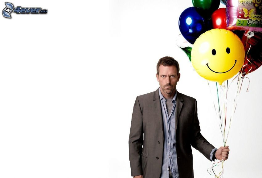 Dr. House, balloons, smiley