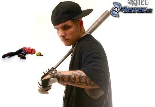 gangster, baseball bat, corpse