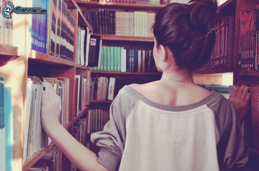 girl, library