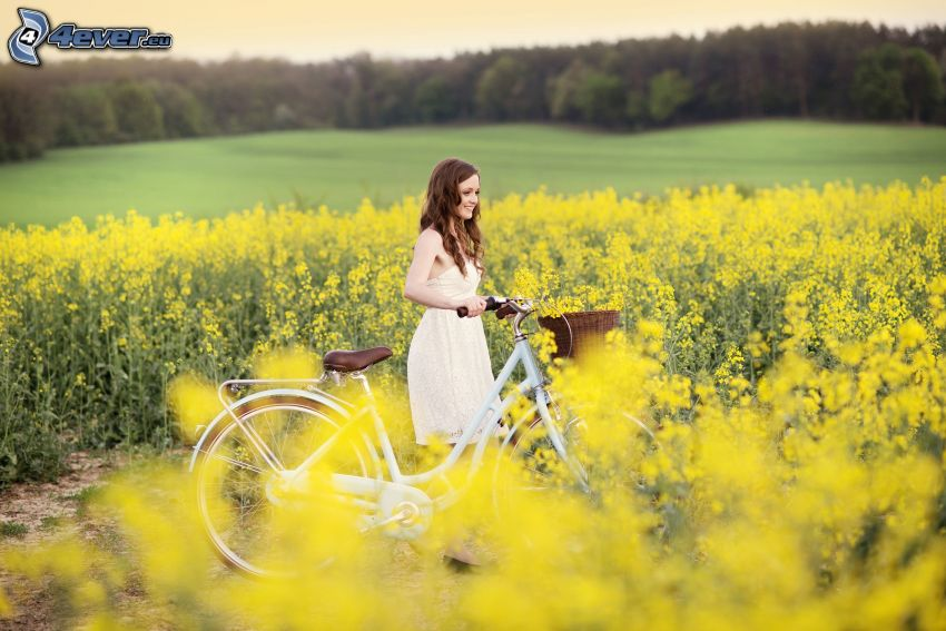 girl on field, rapeseed, bicycle, meadow, forest