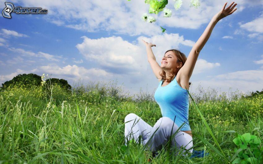 girl on the meadow, joy